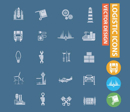 Logistic and transport vector icon set design
