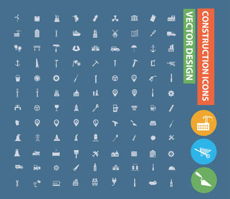 Construction and building vector icon set design