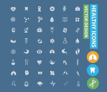 Healthy care vector icon set design