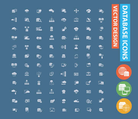 Database and network vector icon set design  イラスト・ベクター素材