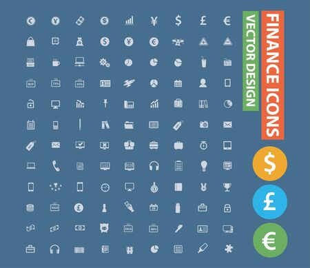 Finance and economy vector icon set design Stok Fotoğraf - 131668804