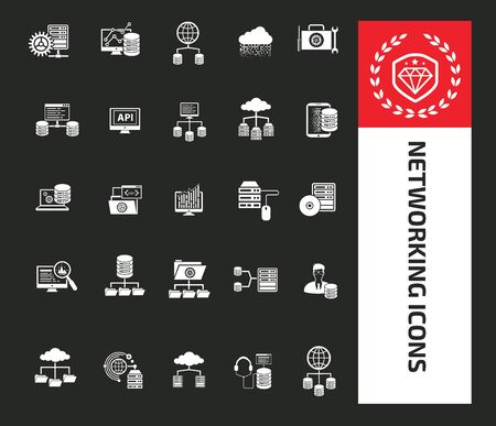 Network and server icon set vector design 矢量图像