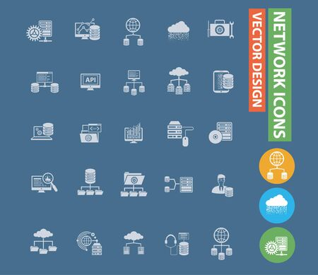 Network vector icon set design Illustration