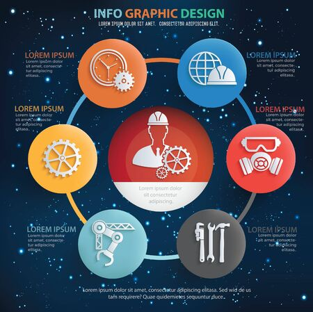 Engineer and industrial infographics vector design