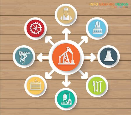 Oil and energy infographics  vector icon design Çizim