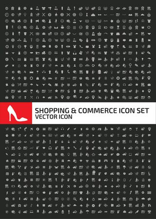 Shopping and commerce vector icon set design Çizim