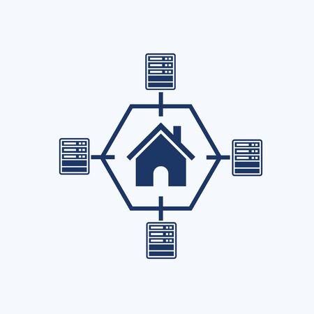 Network and server icon vector design