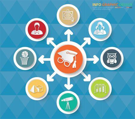 Education and school infographics vector icon set design Stok Fotoğraf - 131669785