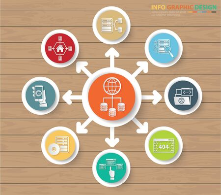 Database and networking infographics vector icon design