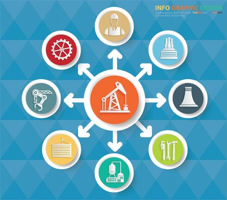Gas industrial info graphics vector icon set design