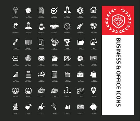 Business and office vector icon set design
