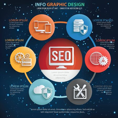 Search Engine Optimisation SEO infographics vector icons