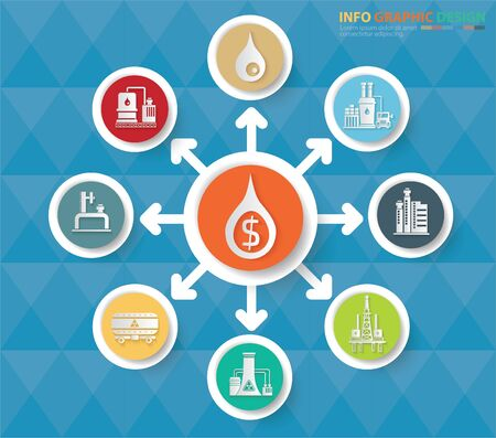 Gas energy industrial vector infographics icon set