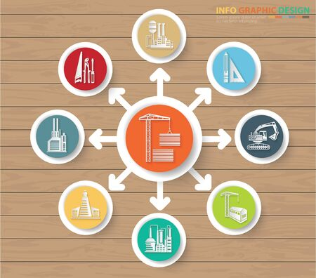 Construction and industry infographic vector icon set design Çizim