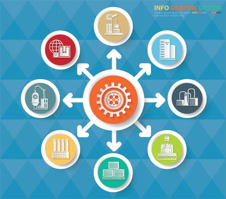 Industrial infographics vector icon set design Stok Fotoğraf - 132093530