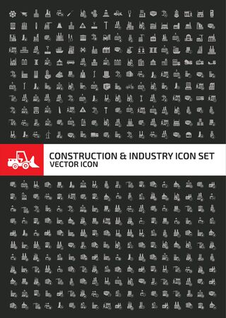 Construction and industrial vector icon set design Çizim