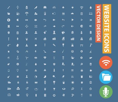 Website vector icon set design Illusztráció