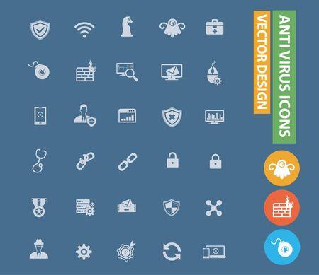 Anti virus computer vector icon set design Ilustrace