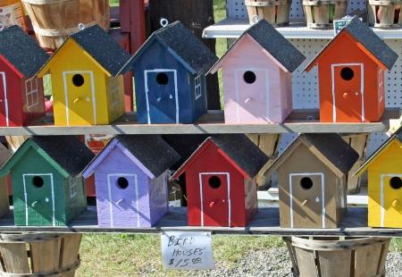 painted wood: Painted wood birdhouses