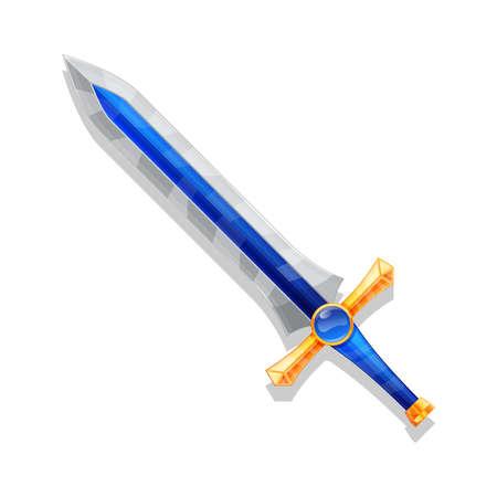 Fantasy Cartoon game sword isolated. Vector illustration. Vektoros illusztráció