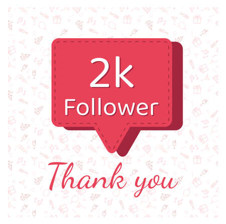 2K followers thank you post with decoration. 矢量图像