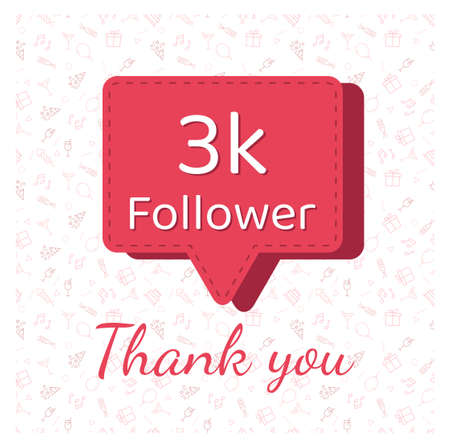 3K followers thank you post with decoration.