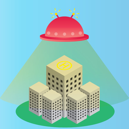 UFO landing on building