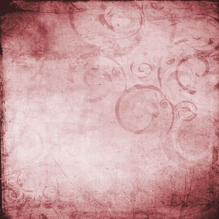 Grunge distressed pink rose swirl abstract background