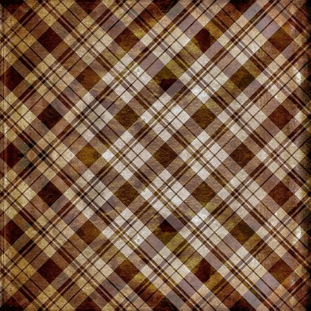 Grunge distressed brown and tan plaid background