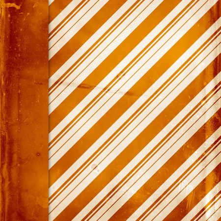 Candy striped orange distressed background with side border