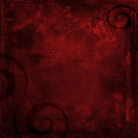 Deep red shabby grunge scrapbook paper background with black swirls Фото со стока