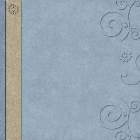 Blue and tan textured layered scrapbook paper with border and swirls