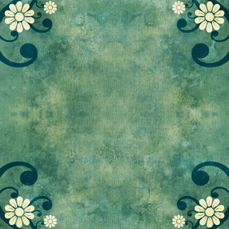 Green shabby grunge background with flowers and swirls