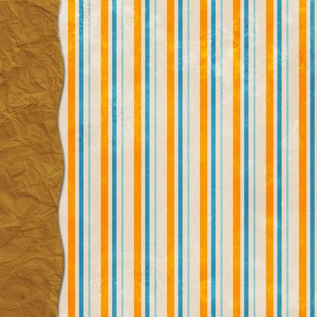 Festive grunge layered background in orange, blue with paper sack border Фото со стока