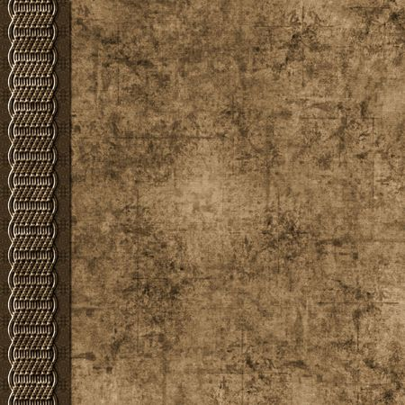 neutral: Layered dirty brown grunge background with braid border Stock Photo