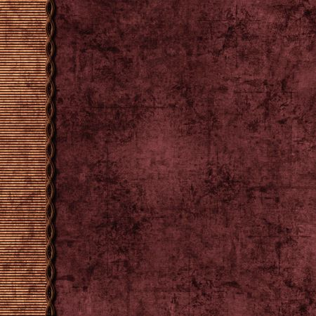 Maroon and tan scrapbook background with braid border