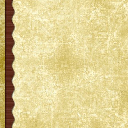 Triple layered old antique paper scrapbook background with wavy border