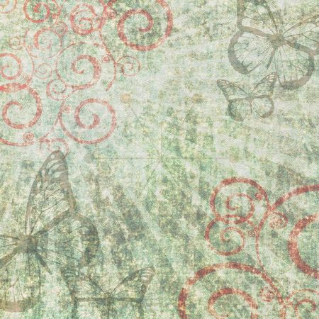 Rough grunge retro background with swirls and butterflies Фото со стока