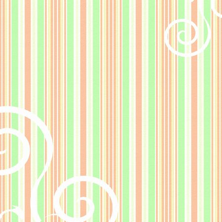 Striped background in peach, green and yellow with swirls