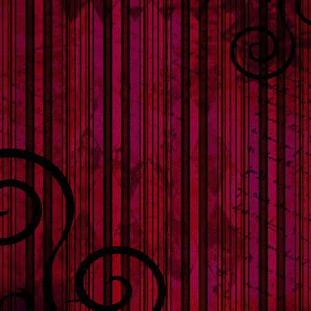 Grunge striped background in deep red and pink with swirls