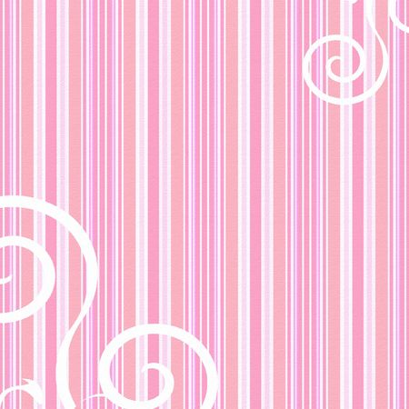 Pink candy striped background with white swirls