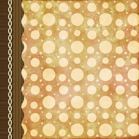 digital: Retro dots scrapbook page composition in brown with braid Stock Photo