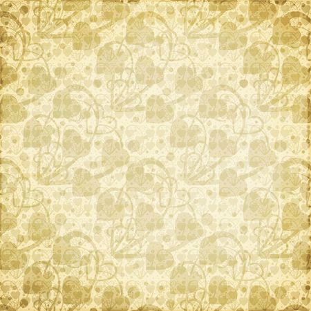 Tan brown abstract hearts and swirl background