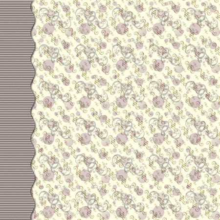 Purple and gray retro dot and swirl background with curved border