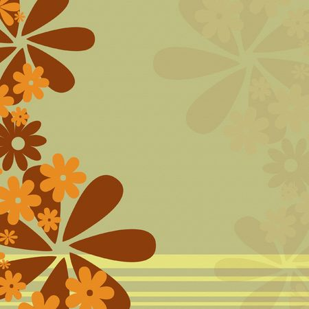 Retro earth tone flower background with stripes Фото со стока