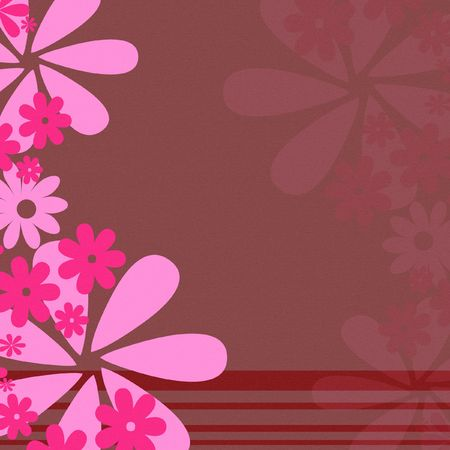 Retro flower background with stripes in pink
