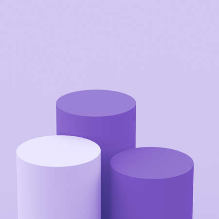 3d purple violet and white cylinder podium minimal studio background. Abstract 3d geometric shape object illustration render. Display for cosmetic perfume fashion product.