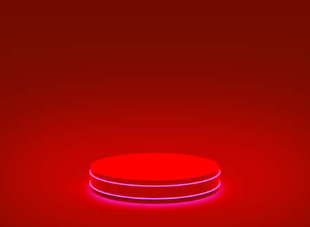 3d red neon light cylinder podium minimal studio red dark background. Abstract 3d geometric shape object illustration render. Display for christmas holiday product.