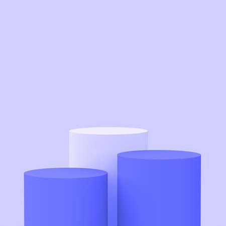 3d purple violet cylinder podium minimal studio background. Abstract 3d geometric shape object illustration render. Display for cosmetic perfume fashion product. Banque d'images