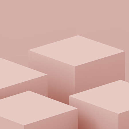 3d dusty pink stage podium scene minimal studio background. Abstract 3d geometric shape object illustration render. Display for cosmetic fashion product. Natural monochrome color tones.